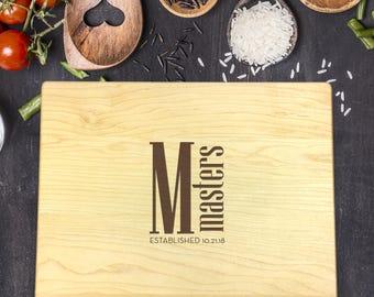 Personalized Cutting Board, Engraved Cutting Board, Custom Cutting Board, Wedding Gift, Housewarming Gift, Last Name, Initial, B-0059