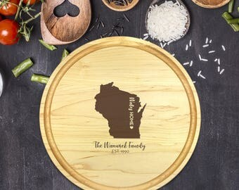 Custom Cutting Board Round - State Cutting Board, Wedding Gift, Personalized Gift, Housewarming Gift, Anniversary Gift, Christmas, B-0018