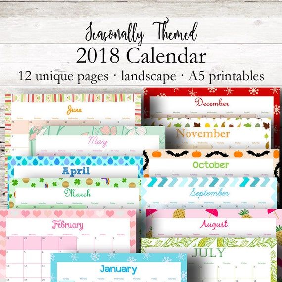 monthly calendar with holidays 2018