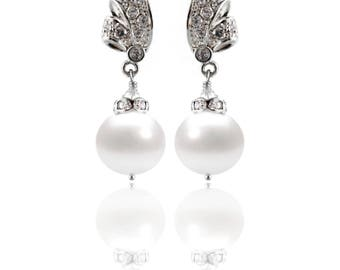 Freshwater Pearl Drop Earrings Silver - Bridal or Bridesmaid Jewelry - Swarovski Crystals, Sterling Silver - Style  1105C - Ready to Ship