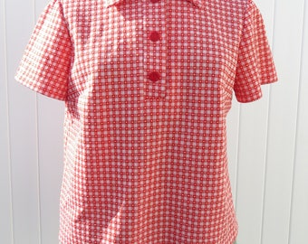 1970s red shirt/ 1970s collared summer top/ vintage top