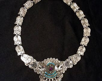 VINTAGE MEXICAN Sterling Silver necklace, turquoise & amethyst. Beautiful