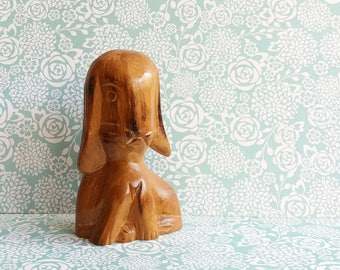 1950s Folk Art Stylised Long Eared Rabbit - Crudely carved with elongated head and whiskers - Hand Carved