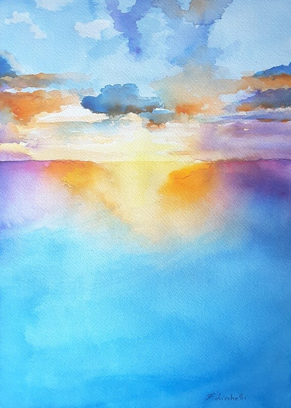 Seascape painting, Original art by Francesca Licchelli, sunset lanscape, colored artwork, special present for dad and grandpa, wall art.