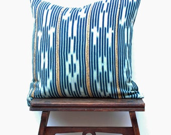 Authentic Vintage Blue Baoule Pillow Cover, Bohemian Pillow, Blue Ethnic Pillow, African Pillow Cover, Boho pillow, Gypsy Pillow 18 x 18