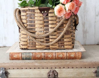 Vintage wicker and rope, country chic, basket Decor basket decorative display basket with flowers, farm decor, VAN160525