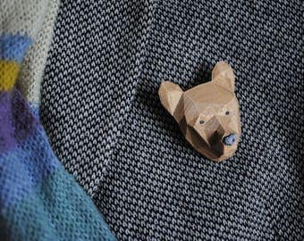 Bear Bronze - 3D printed  Polygonal Brooch