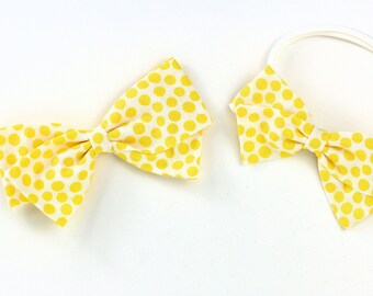 Yellow and white dot bow, toddler, baby girl, fabric bow, nylon headband or clip