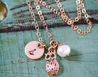 Owl Gift Rose Gold • Owl Necklace Charm Owl Small • Hoot Owl Wise Girl Gift • Cute Jewelry Bird Necklace Rose Gold Bird Gift Owl Lover