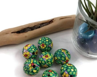 polymer clay beads, floral beads, round beads, green and yellow beads, beading supplies, jewelry supplies, large hole beads