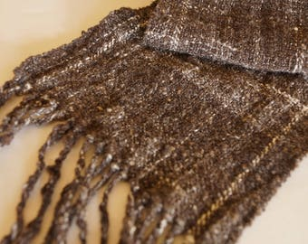 Spring scarf, handwoven scarf, wool silk blend, handspun and handwoven scarf, artisan scarf, luxury scarf