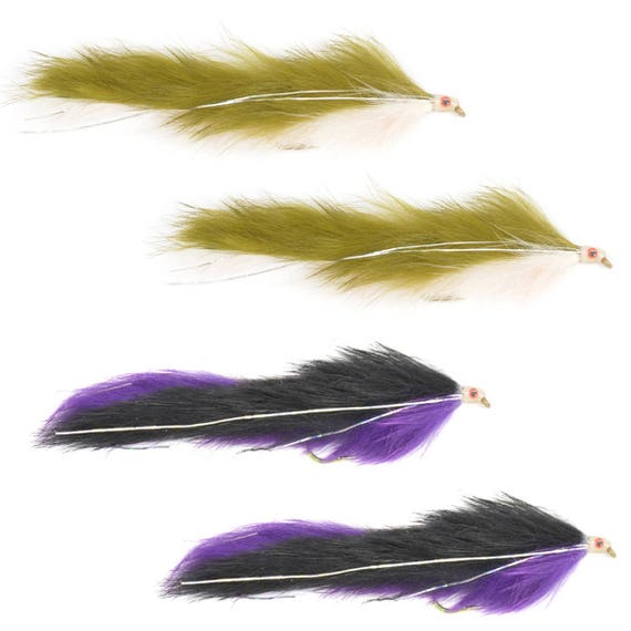 Double Bunny Streamer Assortment - Purple/Black and Olive/White - Trout and Bass Fly Fishing Flies - Hook Size 4 - Hand Tied Trout Flies