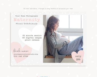 Maternity session template, Maternity Mini Session Template, Maternity Photography, Pregnancy Mini Sessions, Marketing Board, Photoshop