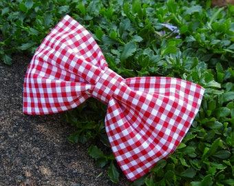 Red Gingham Dog Bow Tie, Check Bow Tie