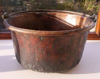 Large French Vintage Copper Confiture Pot