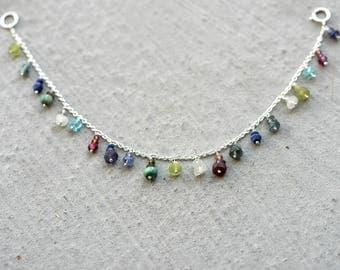 "Multi Gemstone Charm Bracelet / Gemstone Sterling Silver Chain Bracelet 6.5"""