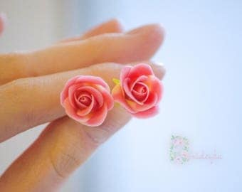 Rose stud earrings Pink Rose jewelry Rose stud earrings clay Polymer clay jewelry Valentines day gift Rose clay Gift women Flower jewelry