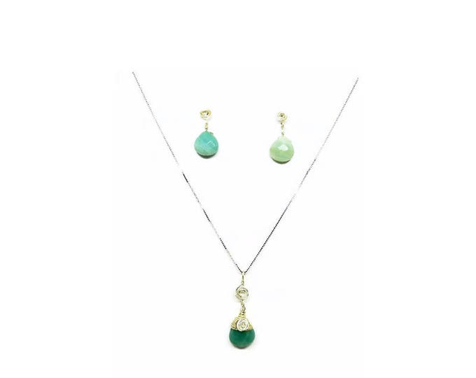 Sterling Silver Wrapped Faceted Amazonite Faceted Gemstone Necklace and Earring Set, Sterling Silver Gemstone Necklace, Unique Birthday Gift