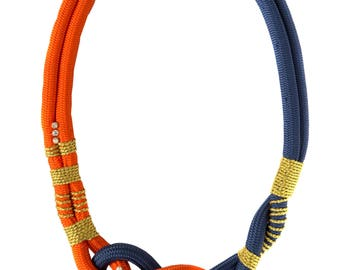 Rope Swarovski Statement Knot Necklace in Navy Blue and Orange Nautical Style