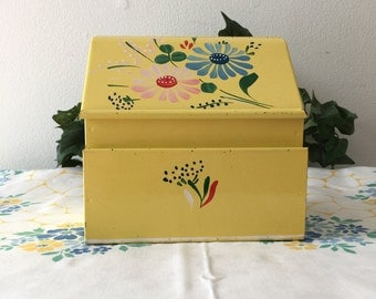 1940's Tin Recipe Box Handpainted Tole Flowers