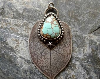 Forest Spirit - Leaf, Turquoise and Sterling Silver Handmade Artisan Silversmith Bohemian Pendant