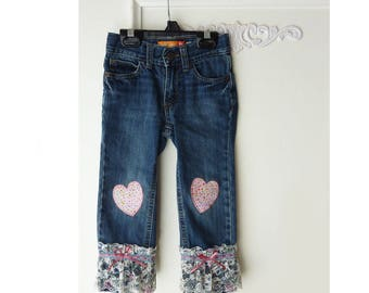 Childrens jeans, Upcycled girls pants, Old navy,  size 3T, lace jeans, embellished jeans, pink heart applique, lace, toddler denim pants