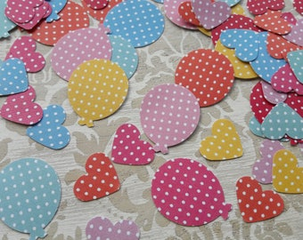 Red Pink Blue Green Yellow Polka Dot Balloon Shaped and Hearts Table Confetti Birthday Party New Years Christening Table Decoration Confetti