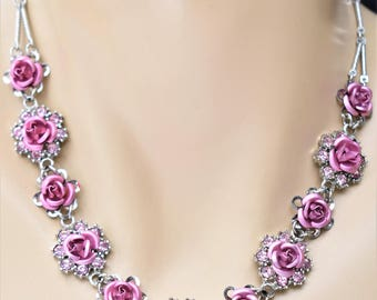 "Vintage Pink Rose Flower Rhinestone Choker Necklace Delicate Formal Prom Wedding Bride Bridal Costume Jewelry 18"""