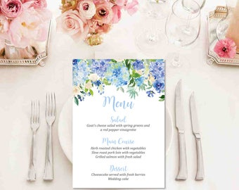 Blue Floral Printable Wedding Menu, Floral Boho Wedding Menu, Boho Menu, Blue Garden Party Bridal Shower Menu, Printable Menu Download 127-W