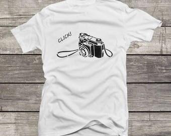 Retro Camera T-Shirt Old Roll Film Camera Shirt Vintage Camera T-Shirt Homemade Silkscreen Graphic Tee Men Women S-3XL T-Shirt