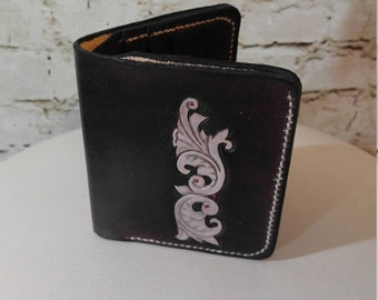 Tooled leather bi-fold wallet with bill fold, black and grey, hand made