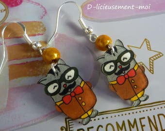 Sterling silver earrings 925 kawaii mustache plastic cat crazy mad and yellow miracle bead