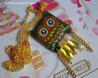 Goldtone OWL OWL handpainted crazy crazy plastic chains and Pearl drop chain Choker necklace