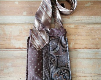 Upcycled tie crossbody bag, vintage tie purse, brown tie handbag, gift for her, OOAK handbag, unique shoulder purse, vintage tie bag, purse