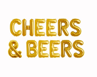 Cheers & Beers Letter Balloons | party decorations gold pink rose gold bachelorette 30th birthday balloon backdrop banner sign