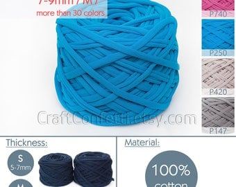 Turquoise T-shirt yarn / M yarn / Blue fabric yarn 100% cotton yarn Blue spaghetti yarn Bulky cotton Craft material / P250 / 5 m (5.5 yrds)