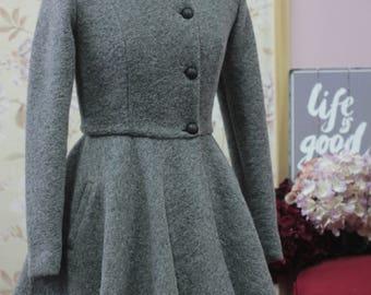 Gray winter wool coat