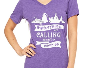 Ladies Relaxed V neck The Mountains are calling Shirt Disney Mountain Shirt Disneyland Shirt Disney World Shirt Disney Shirt Magic Kingdom