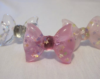 sparkly resin bow ring 3 color options
