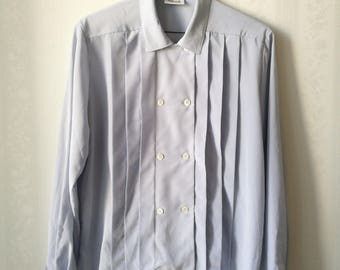 Wahls Ulricehamn boxy vintage pleated blouse, pale blue