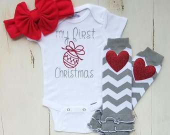 First Christmas onesie, Baby girl clothes, Baby girl Christmas outfit, Baby girl, Christmas outfit, Onesies, Baby onesies, Baby onesie