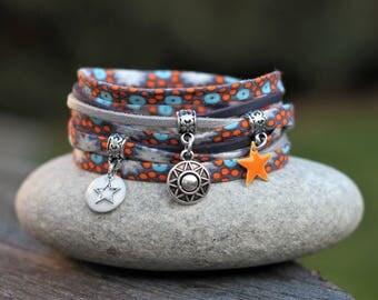 Cuff Bracelet, wristband fabric cord, 2 orange silver bracelet blue bracelet, thin wrist