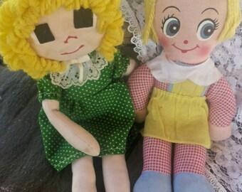 2 Vintage rag dolls/vintage dolls/rag dolls/collectible dolls/blonde rag dolls/toy dolls/vintage toy dolls/toy rag dolls/vintage toys