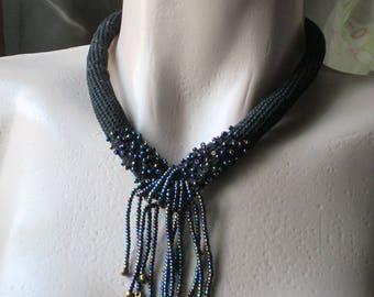 Crochet beaded necklace,Black necklace,Beadwork,original necklace,Crochet tube necklace,Wearable art