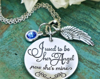 I used to be her Angel now she's mine necklace, bereavement jewlery, sympathy gift remembrance jewelry with wings Mom's girl Mother