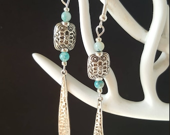 Earrings Drop & Blue Agate Celtics - agate - turquoise - retro boho necklace - Bohemian chic - Celtic - ethnic - Valentine's day