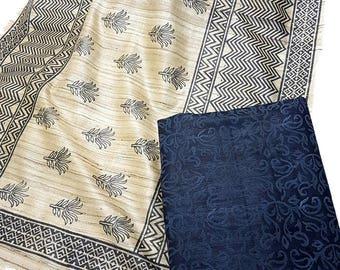 Pure Silk Salwar Suit - Tussar Ghicha Silk - Black
