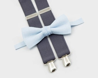 Boys Wedding Outfit, Toddler Bow Tie Suspenders, Sky Blue Bow Tie & Gray Suspenders