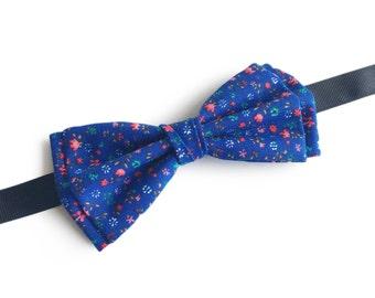 "Floral Blue Pre Tied Bow Tie ""Hoff"", Best Handmade Gift For Men, Weddings, Birthday, Valentines Day"