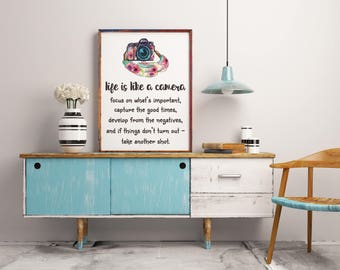 Positive quote print, Life is like a camera quote print, Retro camera print, Printable art, Wall decor, Home decor, Camera printable